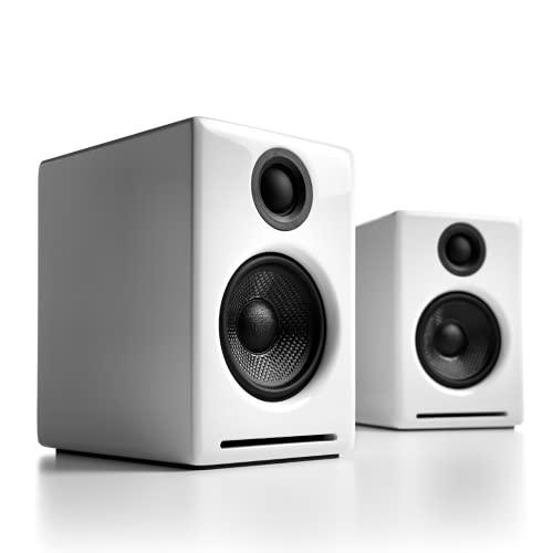 Audioengine A2+ 60W Aktiver Desktop-Lautsprecher | Integrierter DAC & Analogverstärker | Direkter USB-Anschluss, 3,5 mm-Klinke und Cinch-Eingänge | Kabel inklusive (Bluetooth - Wireless, Weiß)