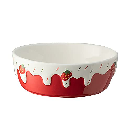 Tazón de ensalada Tazón de desayuno para el hogar Tazón de postre de dibujos animados Tazón de cerámica Tazón de porcelana Plato de fruta resistente al calor Fresa ( Plato pequeño de 6 pulgadas)