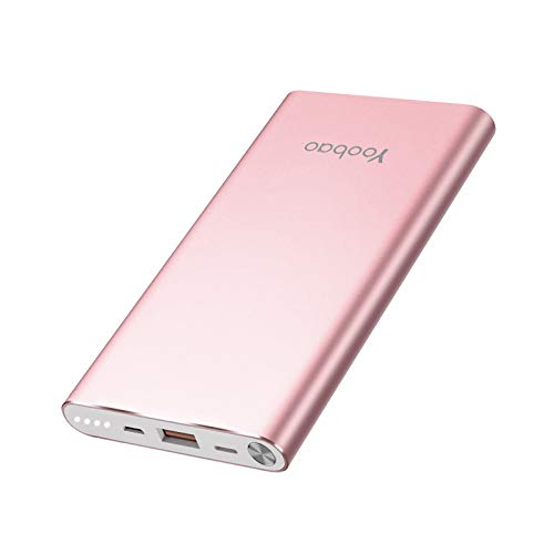 Yoobao Portable Charger 10000mAh Slim Power Bank Powerbank External Cell Phone Battery Backup Charger Battery Pack with Dual Input Compatible iPhone X 8 7 Plus Android Samsung Galaxy More - Rose Gold