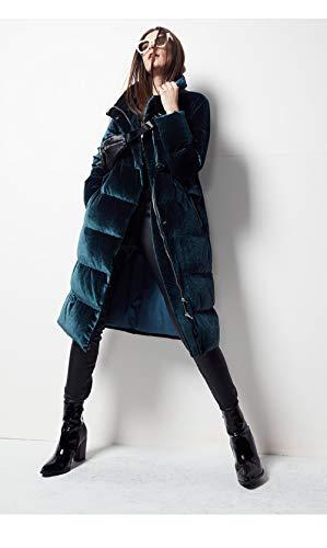 DPKDBN Femmes vers Le Bas de la Veste, liste Velours Long vers Le Bas pour Les Femmes Veste Bureau rétro Lady Fashion Duvet de Canard Parkas épais Plus Size Outwear, Turquoise, XL