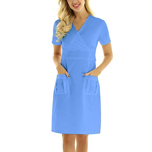 YANFANG Vestido Ajustado Mujer, Vestido de Bolsillo sólido de Uniforme de Trabajo sólido con Cuello en V de Manga Corta Informal para Mujer, S,Navy