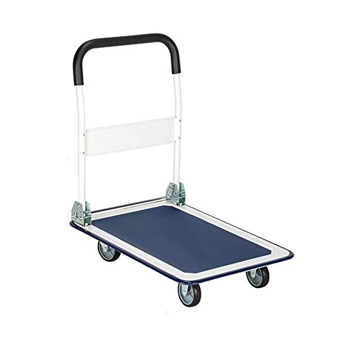 ASSR Folding Platform Truck,150KG Load-bearing Blue and White,Push Cart Dolly Rolling Flatbed Cart for Travel, Moving