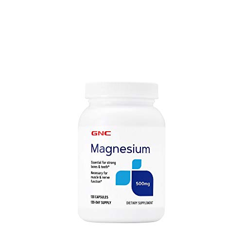 GNC Magnesium 500mg, 120 Capsules, Supports Calcium Absorption and Strong Teeth and Bones
