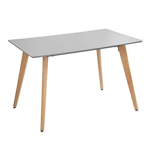 Fanilife - Mesa de Comedor Rectangular de 110 cm, diseño Moderno Retro con Patas de Madera, Color Gris
