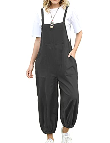 YESNO Women Casual Loose Cropped Bib Bloomers Overalls Baggy Cotton Rompers Jumpsuits with Pockets PV5 (PV5 Black L)