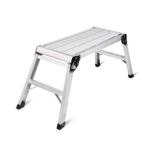 Work Platform Large 30inch Folding Ladders Stool with Non-Slip Mat Heavy Duty Aluminum Step Ladder Drywall of Capacity 330 LBS