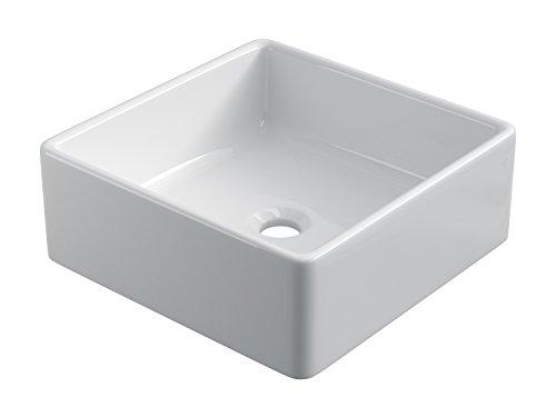 STARBATH PLUS Keramik Aufsatzwaschbecken Waschschale Handwaschbecken Eckig (38 x 38 x 14 cm)