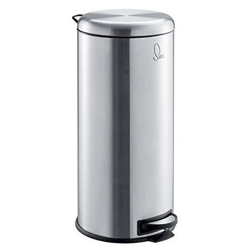 SVITA T30 Edelstahl Mülleimer Silber Treteimer Abfalleimer 30 Liter inkl. Inneneimer rund Küchen-Hilfe