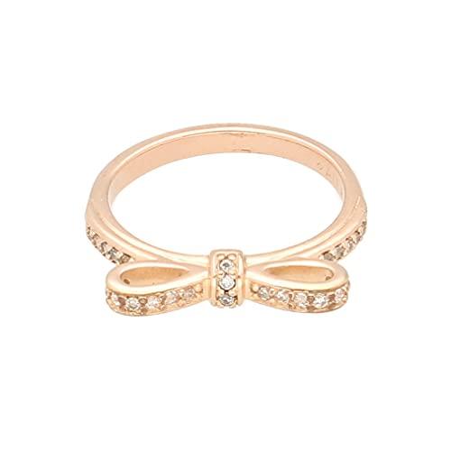 Anillo de lazo de Swarovski blanco chapado en oro rosa para mujer (talla I) 4 mm de ancho, anillo de lujo para mujer