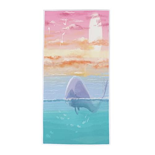 Toalla de mano de ballena de playa toalla de baño suave absorbente toalla de dedo multiusos para baño, habitación de invitados, cocina, hotel, piscina, spa, gimnasio, 38 x 76 cm