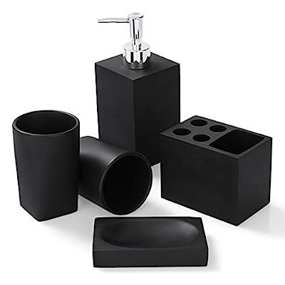 Bathroom Accessories Set, 5 Piece Resin Bathroom Sink Set, Toothbrush Holder, Liquid Soap Dispenser, Soap Dish, 2 Tumblers