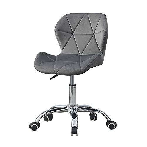 OFCASA Computer Desk Chair Grey Velvet Fabric Office Chair Height Adjustable Upholstered Seat Swivel Chair for Desk Home Office