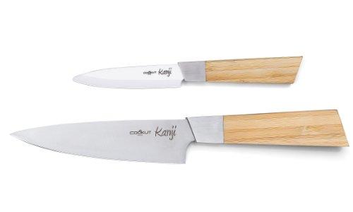 COOKUT KANJI01 Set de 2 Couteaux Céramique Couteau d'Office 10 cm + Couteau de Chef 15 cm + Porte Couteau Plexi Manche Bambou et Lame Acier Inoxydable