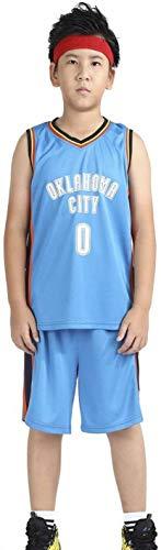 ASSD Camiseta de Baloncesto los niños - Uniforme de Baloncesto de la NBA Summer Set de Thunder Westbrook # 0 Ventilador Edición #Jersey -Classic Retro Baloncesto Swingman Camisa sin Mangas y Corto