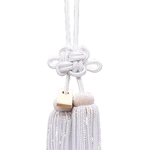 ENISHCHY Coche retrovisor Espejo Colgante Nudo Chino Colgante Oro y Plata Cuerda crisantemo Nudo Significado Seguridad y Buena Suerte (Color : White, Size : 17cm)