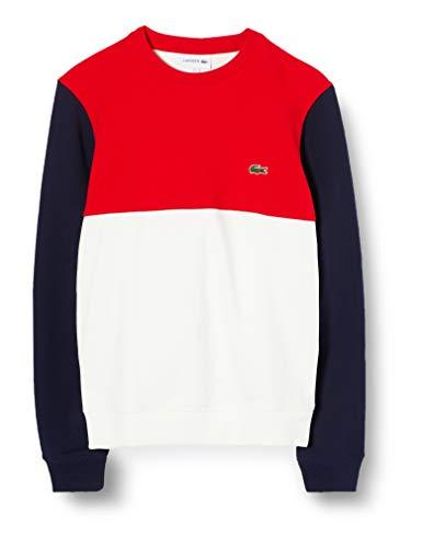 Lacoste Herren Sh5185 Sweatshirt, Weiß (Farine/Rouge-Marine Avj), XXXX-Large (Herstellergröße: 9)