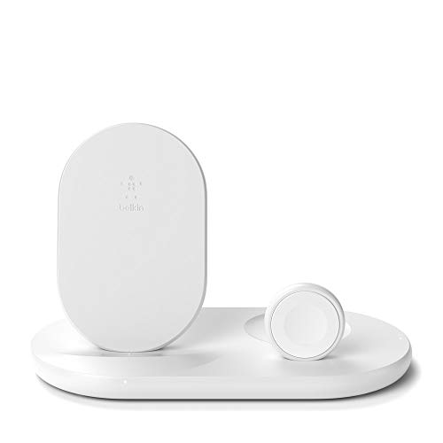 Belkin Caricabatteria Wireless 3 in 1, Stazione di Ricarica Wireless da 7.5 W per iPhone, Apple Watch ed AirPods, Dock di Ricarica Wireless per iPhone, Supporto di Ricarica per Apple Watch, Bianco
