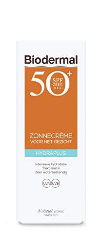 Biodermal Zonnebrand - Hydraplus Face SPF50 - Zonnebrandcreme gezicht - Onmiddellijke bescherming, trekt snel in en is niet vet of plakkerig - 50ml