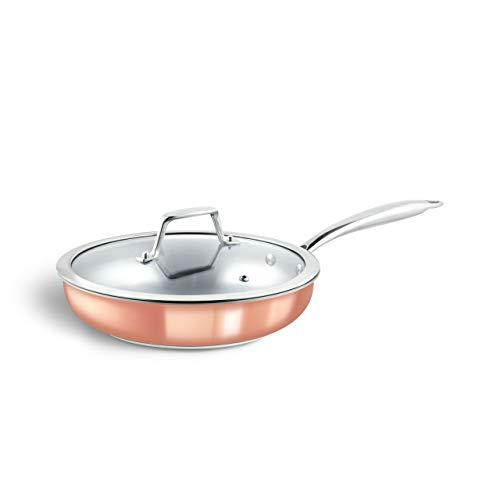 Sartén de acero de 3 capas Claire (26 cm Ø) Sartenes de cobre con tapa de cristal/sartén de cobre en un diseño moderno y elegante, para todo tipo de cocinas, incluida inducción