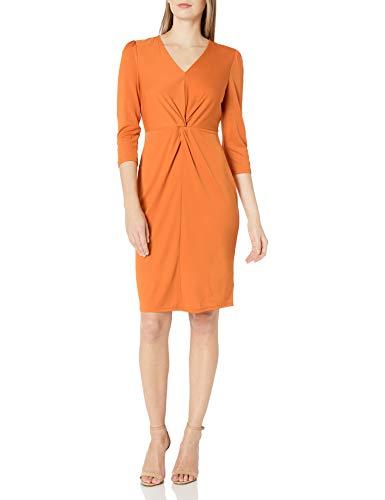 Amazon Brand - Lark & Ro Women's Long Sleeve Matte Jersey Twist Front Dress, Autumn Maple, XXL
