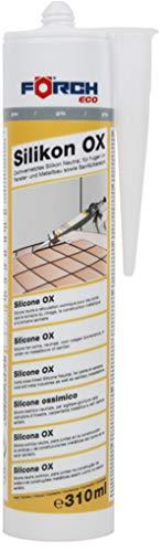 Förch Silikon OX grau - 310ml Kartusche für Fensterverglasung, Silikonfugen in Bad, Dusche, Sanitär, Außenbereich - hitzbeständig, dauerelastische Fugen