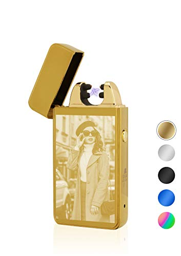 TESLA Lighter T11 Lichtbogen Feuerzeug, mit Foto-Gravur, personalisiert als Geschenk zu Weihnachten, Geburtstag etc. Elektronisches Feuerzeug, wiederaufladbar per USB inkl. Geschenkverpackung Gold