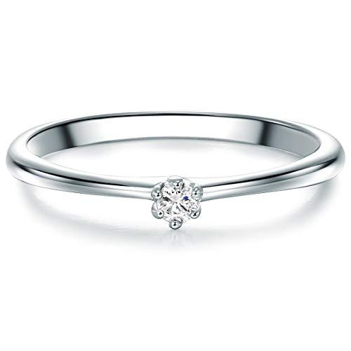 Tresor 1934 Damen-Solitärring Sterling Silber Zirkonia weiß im Brillantschliff - Vorsteckring Silberring Verlobungsring Silberschmuck