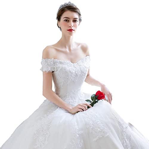 YQ&TL Vestido de Novia de Tul de Gasa Nupcial Corte A Cintura Imperio Vestidos de Fiesta para Mujer, Longitud del Piso,Personalización de Gran Tamaño White XL