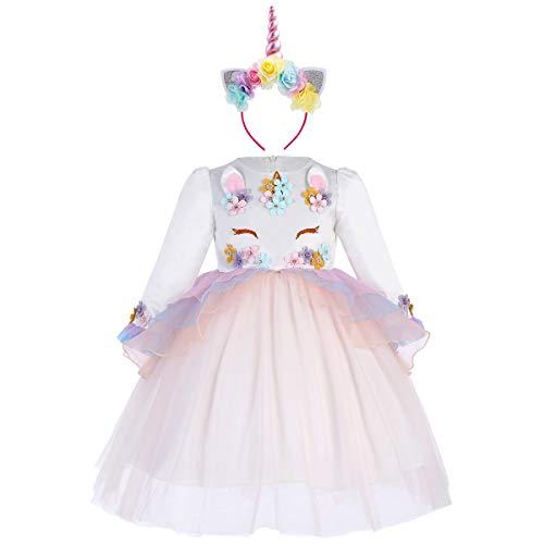 Princesa Beb Nia Vestido Unicornio Cumpleaos Disfraz deCosplay para Fiesta Carnaval Navidad Bautizo Comunin Boda Manga Larga 003 Albaricoque(2PCS) 2-3 aos