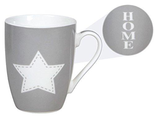 Kaffeebecher Home Steingut Stern Style Kaffeetasse Becher Porzellan Stern Design von Alsino, Variante wählen:101766 grau