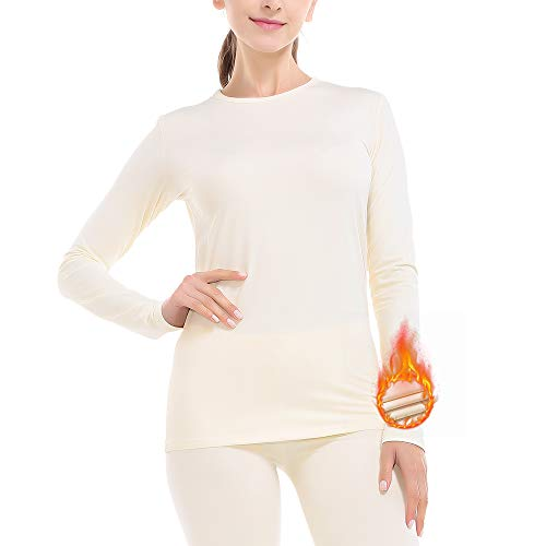 Subuteay Thermal Underwear for Women Ultra Soft Fleece Lined Long Johns Set Top & Pants Base Layer Set Beige XS