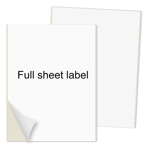 PACKZON Shipping Labels Full Sheet with Self Adhesive, Square Corner, for Laser & Inkjet Printers, 8.5' x 11' White, (100 Labels)
