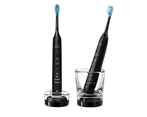Philips Sonicare DiamondClean 9000 Elektrische Zahnbürste Doppelpack HX9914/54 - 2 Schallzahnbürsten mit 4 Putzprogrammen, Timer & Ladeglas, neue Generation, schwarz+schwarz