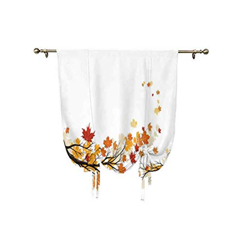 Paneles de cortina de otoño, con diseño de hojas de colores para la temporada pastoral, con aislamiento térmico decorativo, 137 x 150 cm, para ventanas del hogar, color naranja oscuro