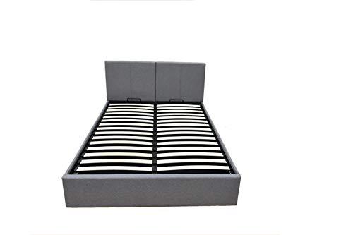 EuropeDirectShopping Celestine Ottoman | Bett Rahmen Kasten Polster mit 800 Liter Stauraum | Grau | 160 x 200 | Abnehmbares Kopfteil
