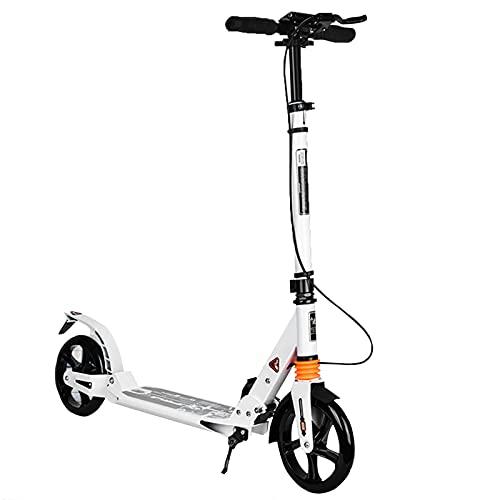 Trottinette Scooter, Scooter à Deux Roues Adulte Pliable, Scooter De La Ville D'absorption De Choc Double, Hauteur Réglable Librement(Color:Blanche)