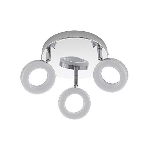 ELC LED Deckenlampe rund, schwenkbar & drehbar, 3 flammig, 230 V, inkl. LED Leuchtmittel A+, LED Deckenleuchte Deckenstrahler warmweiss, Metall chrom, Deckenspot, Spot Strahler (3x400lm je 4 W)