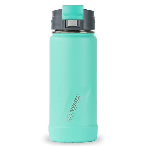 EcoVessel Perk Vacuum Insulated Coffee Tumbler and Tea Bottle, 16oz Stainless Steel Travel Infuser with Strainer and Push-Button Lid