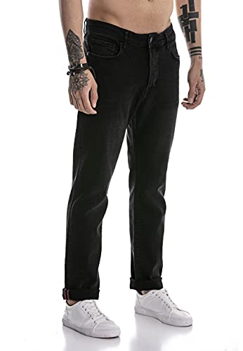 Redbridge Jeans da Uomo Pantaloni Denim Stile Straight Cut Nero W40L34