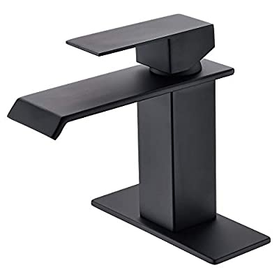 Waterfall Spout Single Handle One Hole Bathroom Sink Faucet Oil Rubbed Bronze Deck Mount Lavatory