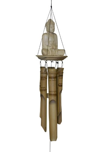 Cohasset Gifts 634 Cohasset Indonesian Sitting Buddha Bamboo Wind Chime, Light Natural Wood