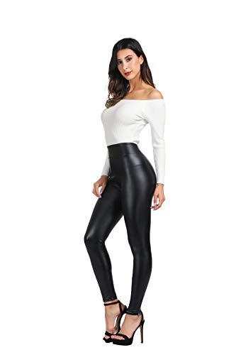MCEDAR Women's High Waisted Faux Leather Leggings & Mesh Sport Yoga Leggings for Causal (XXL, Black #5)