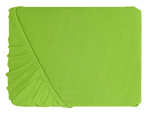 npluseins klassisches Jersey Spannbetttuch – erhältlich in 34 modernen Farben und 6 verschiedenen Größen – 100% Baumwolle, 70 x 140 cm, apfelgrün - 2