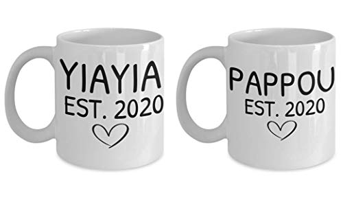 Yiayia Coffee Mug, Greek Grandma Coffee Cup, You're going to be a yiayia 2020, Pappou Mug, Greek Baby, Mug Set, Greek Grandparents
