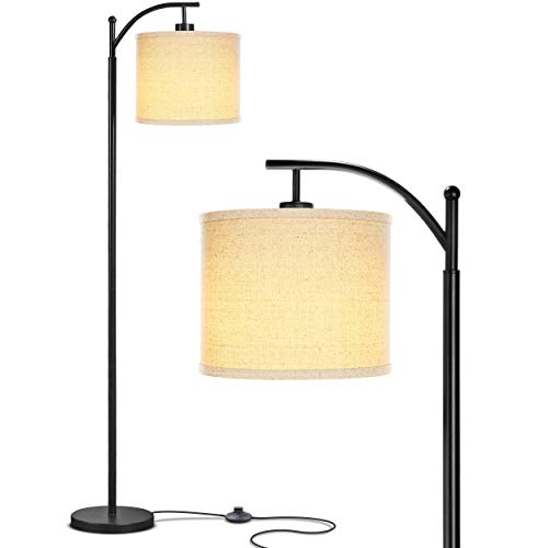 Brightech Montage - Bedroom & Living Room Floor Lamp - Reading Standing Light with Arc Hanging Shade - Indoor, Tall Pole Lamp for Office - Suits Mid Century Modern & Farmhouse - with LED Bulb - Black