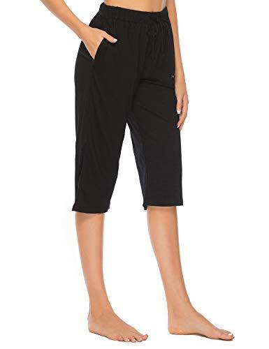 Vlazom Bas de Pyjama Femme Court Coton Pantalon de Pyjama avec Poches,M,Noir