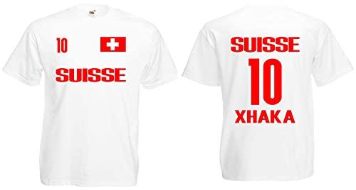 Schweiz-Suisse Xhaka Herren T-Shirt EM 2020 Trikot Look Style Shirt Weiß L