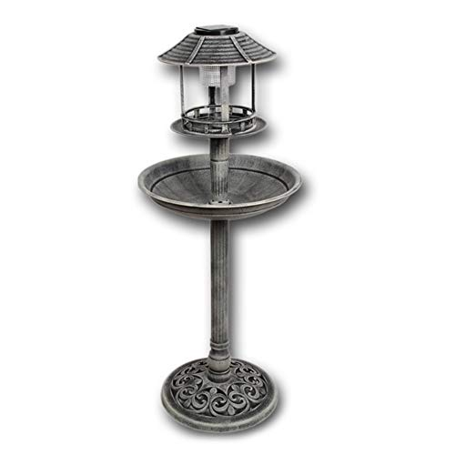 Vogelhotel mit LED Solar-Beleuchtung Höhe: 96 cm, steingrau, detailreich gearbeitet, aus Kunststoff, Vogeltränke Vogelbad Vogelfutterplatz grau