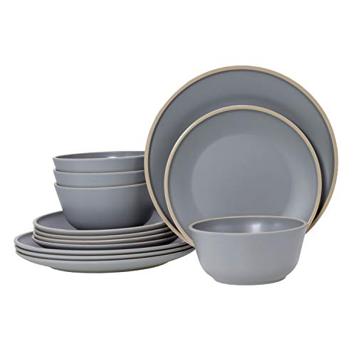 Gufaith Dinnerware Sets for 4,12 Piece Melamine Dinnerware Sets, Christmas Dinnerware,Unbreakable BPA Free (Mint Green)