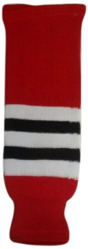 DoGree Hockey Chicago Blackhawks gestrickte Hockey-Socken, Rot/Weiß/Schwarz, Junior/61 cm